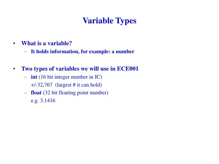 Variable Types