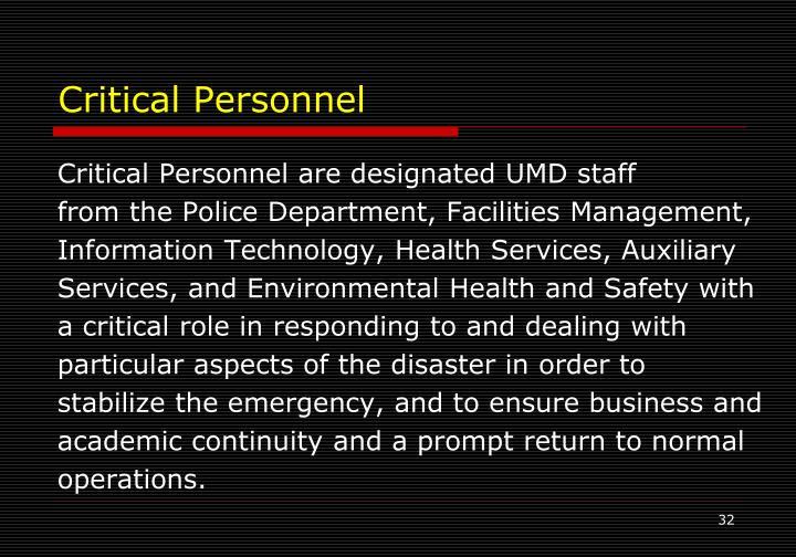 Critical Personnel