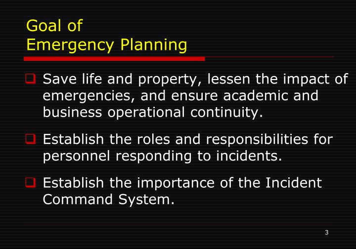 Goal of emergency planning