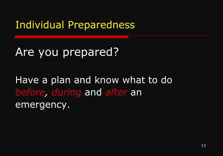 Individual Preparedness