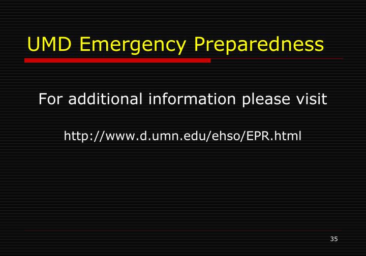 UMD Emergency Preparedness