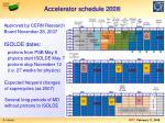 accelerator schedule 2008