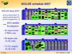 isolde schedule 2007