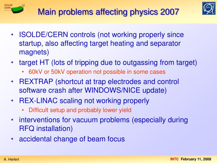 Main problems affecting physics 2007