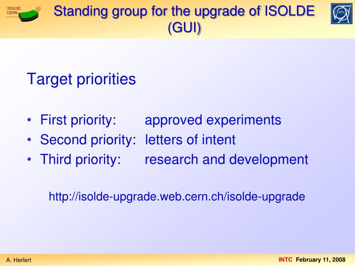 Standing group for the upgrade of