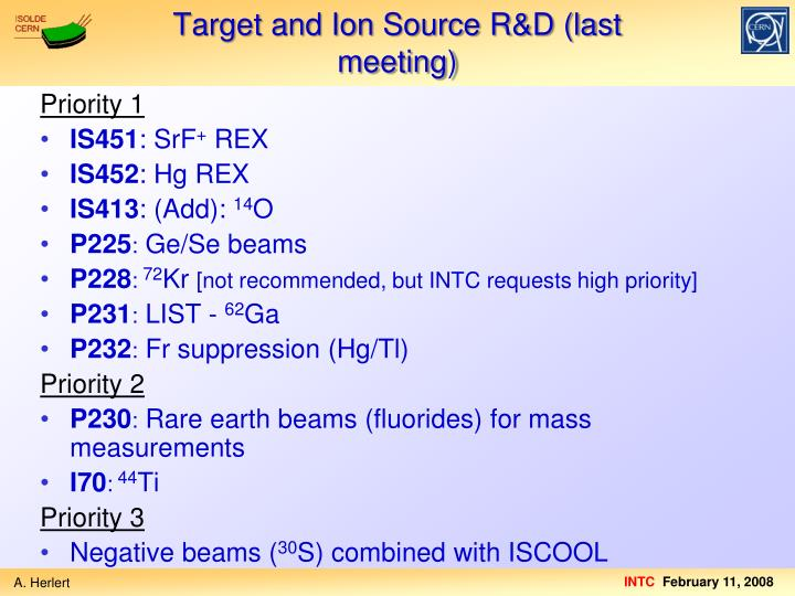 Target and Ion Source R&D (last meeting)