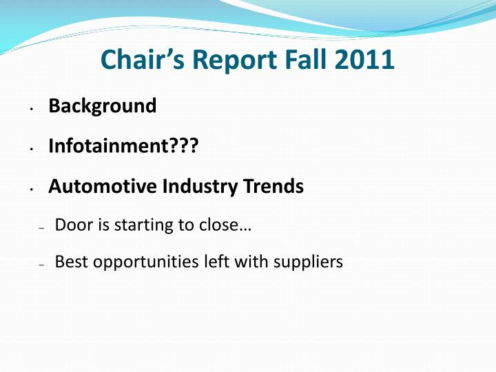 Chair's Report Fall 2011