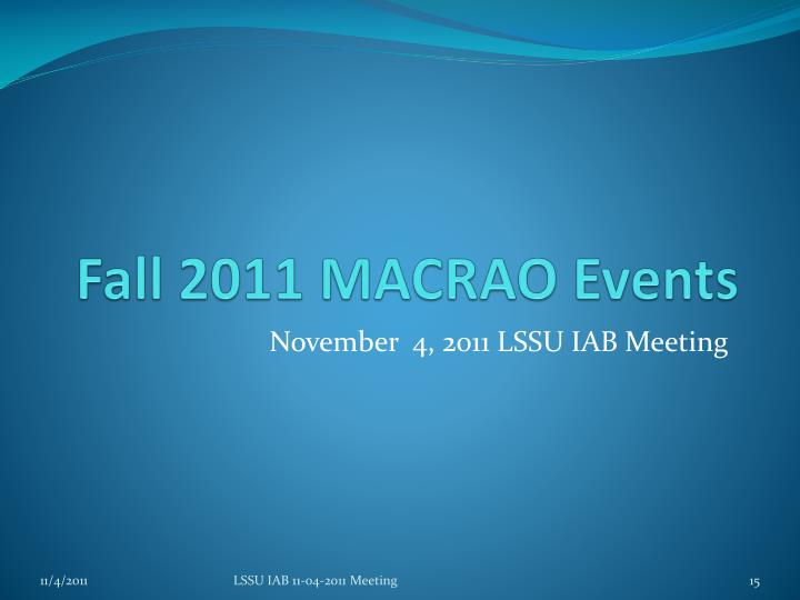 Fall 2011 MACRAO Events