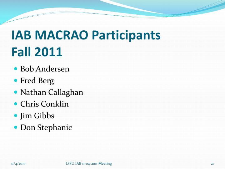 IAB MACRAO Participants