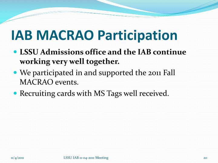 IAB MACRAO Participation