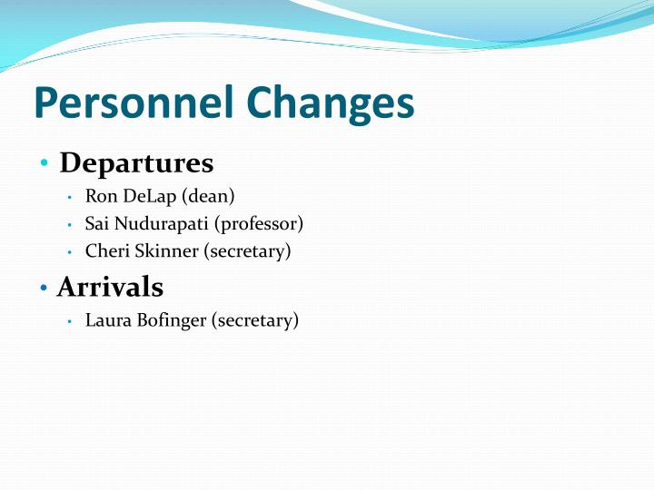 Personnel Changes