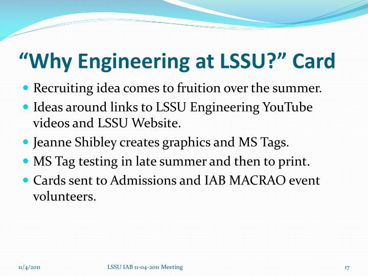 """Why Engineering at LSSU?"" Card"