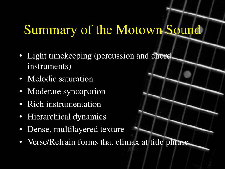 Summary of the Motown Sound