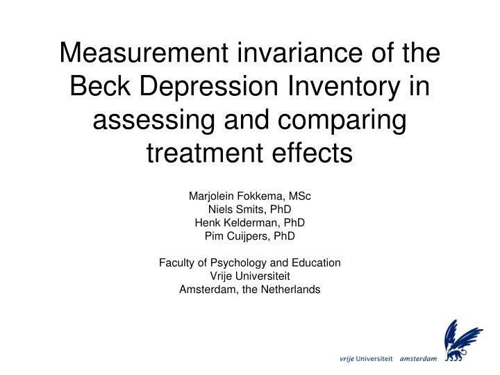 Measurement invariance of the Beck Depression Inventory in assessing and comparing treatment effects