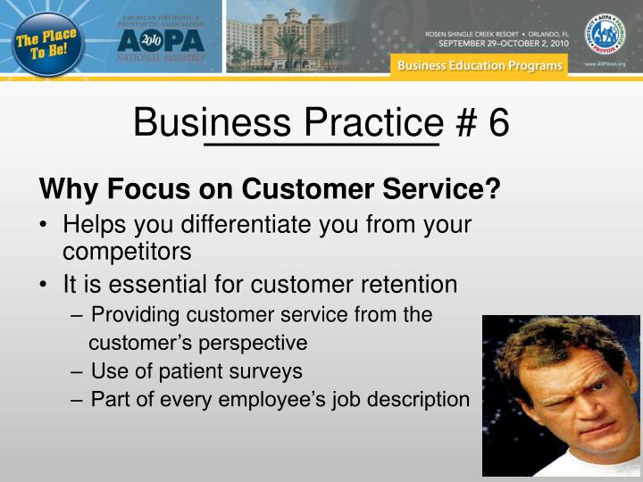 Business Practice # 6