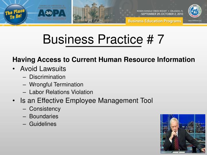 Business Practice # 7