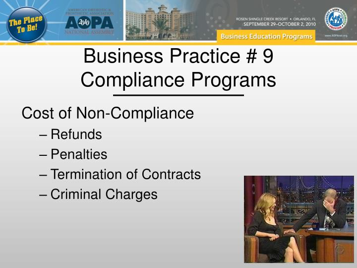Business Practice # 9