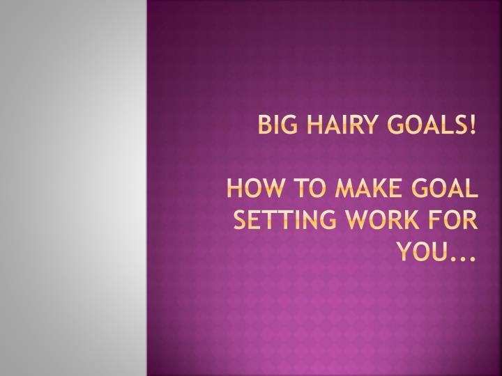 Big hairy goals how to make goal setting work for you