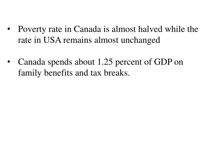 Poverty rate in Canada is almost halved while the rate in USA remains almost unchanged