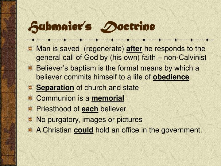 Hubmaier's  Doctrine