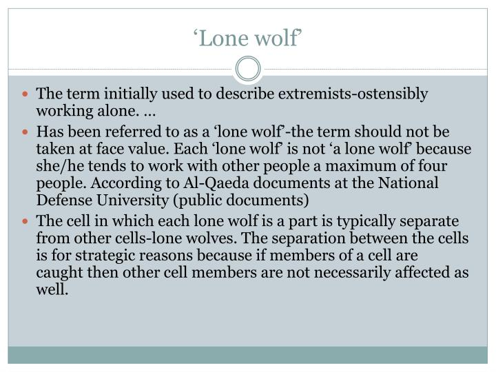 'Lone wolf'