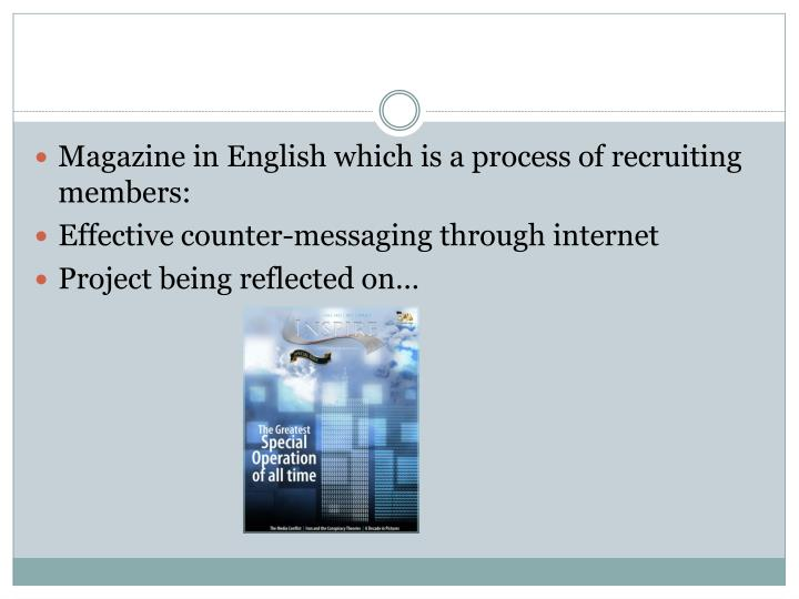 Magazine in English which is a process of recruiting members: