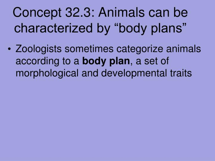 "Concept 32.3: Animals can be characterized by ""body plans"""