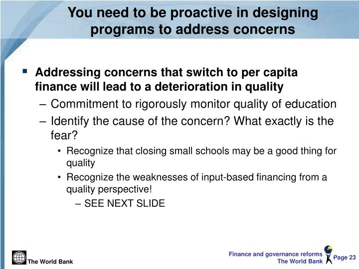 You need to be proactive in designing programs to address concerns