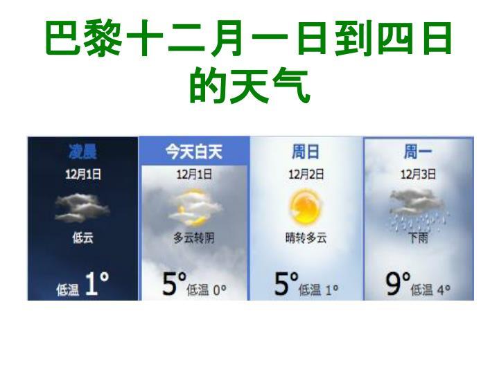 巴黎十二月一日到四日的天气