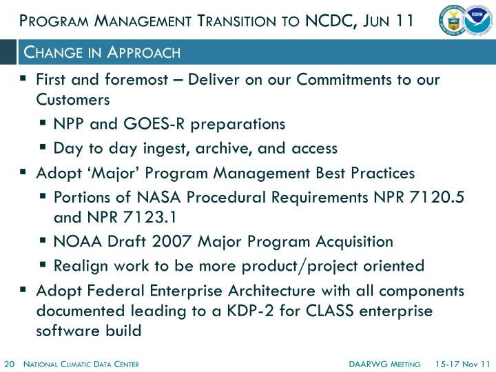 Program Management Transition to NCDC, Jun 11