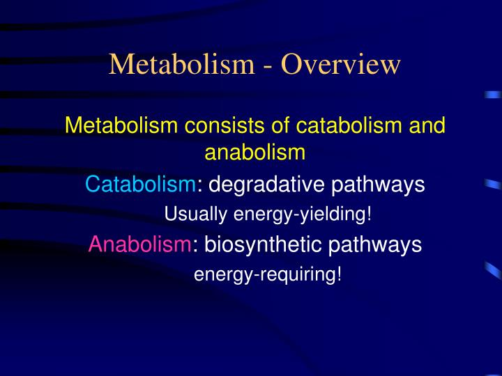 Metabolism consists of catabolism and anabolism