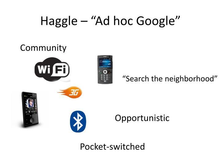 """Haggle – """"Ad hoc Google"""""""