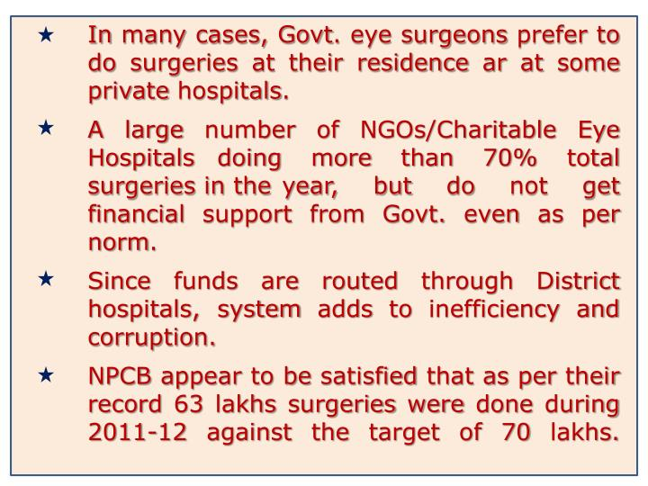 In many cases, Govt. eye surgeons prefer to do surgeries at their residence