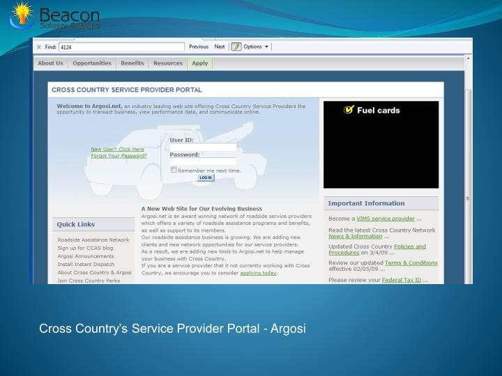 Cross Country's Service Provider Portal -
