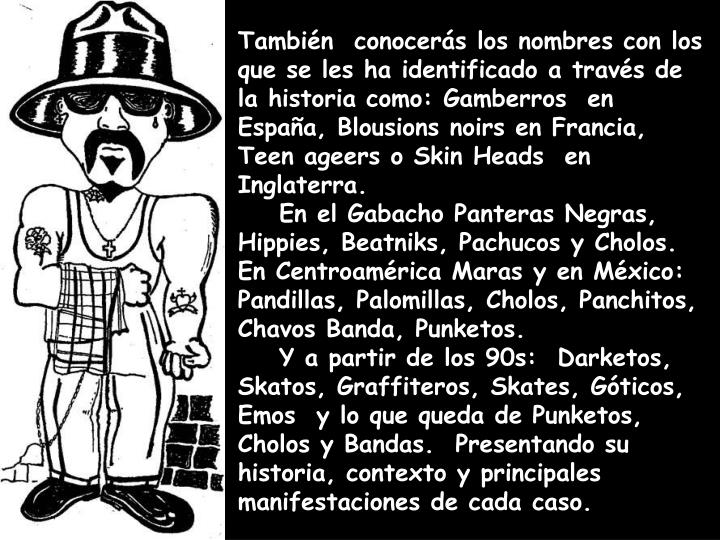 También  conocerás los nombres con los que se les ha identificado a través de la historia como: Gamberros  en España, Blousions noirs en Francia, Teen ageers o Skin Heads  en Inglaterra.