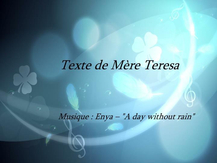 Texte de Mère Teresa