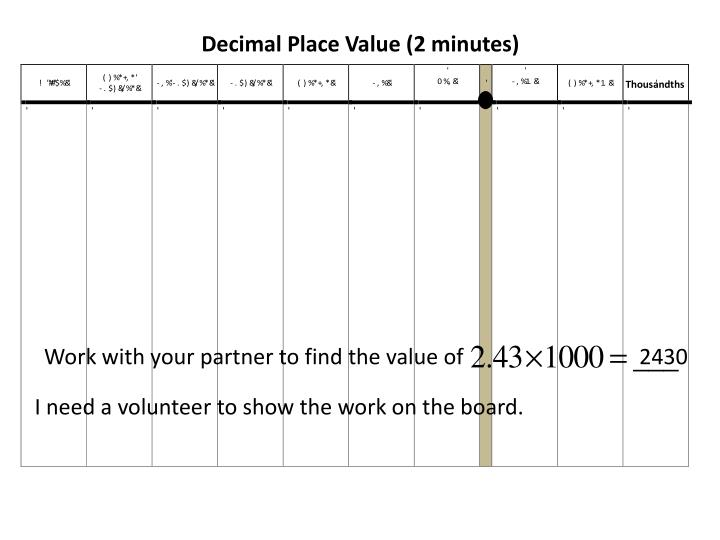 Decimal Place Value (2 minutes)