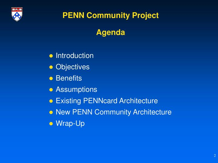 Penn community project agenda