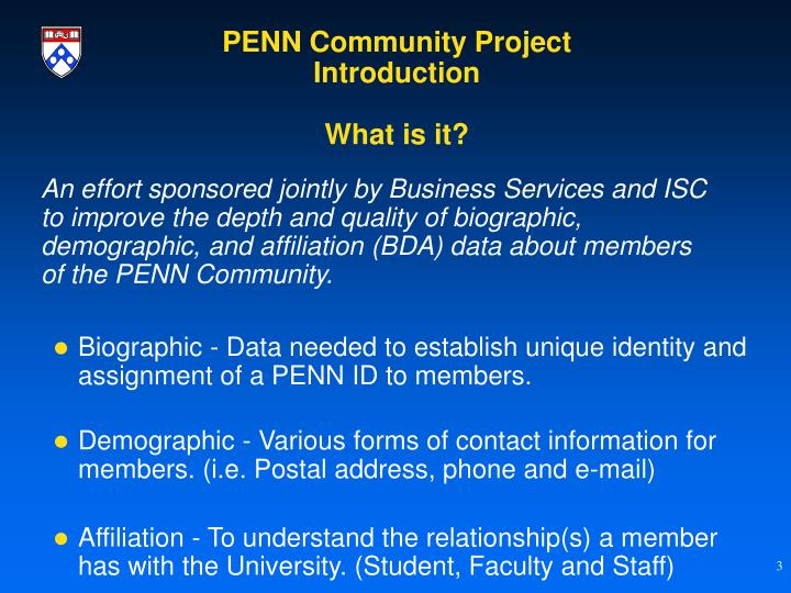 Penn community project introduction what is it