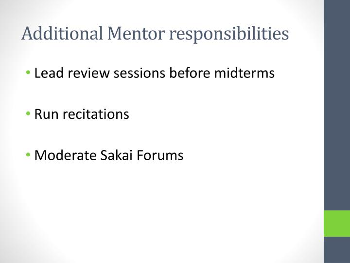 Additional Mentor responsibilities