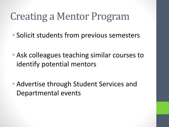 Creating a Mentor Program