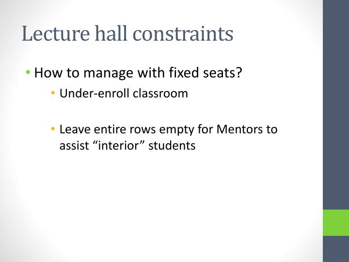 Lecture hall constraints
