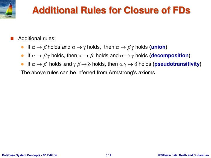 Additional Rules for Closure of FDs