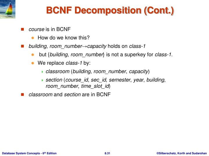 BCNF Decomposition (Cont.)