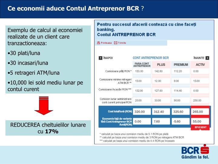 Ce economii aduce Contul Antreprenor BCR