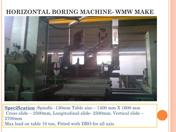 HORIZONTAL BORING MACHINE- WMW MAKE