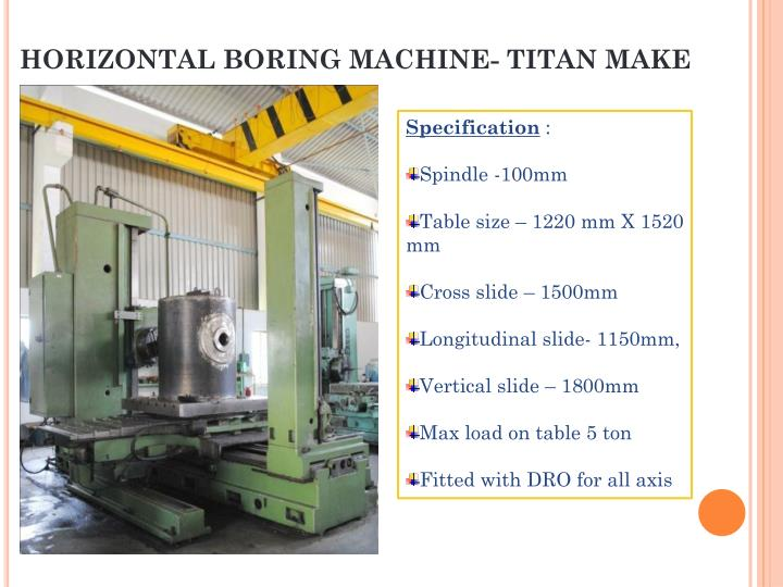 HORIZONTAL BORING MACHINE- TITAN MAKE