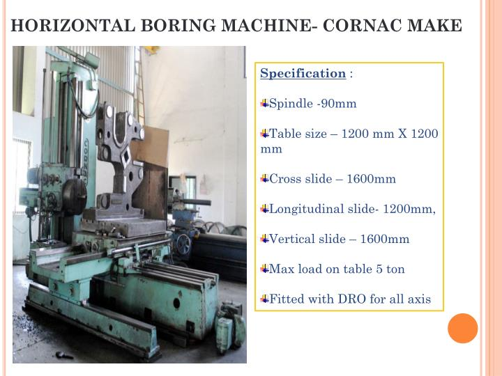 HORIZONTAL BORING MACHINE- CORNAC MAKE