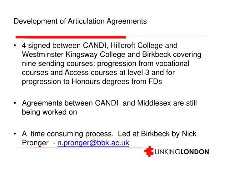 Development of Articulation Agreements