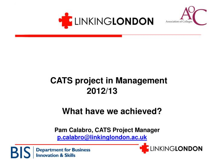CATS project in Management     2012/13